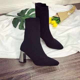 全新 尖頭襪套靴