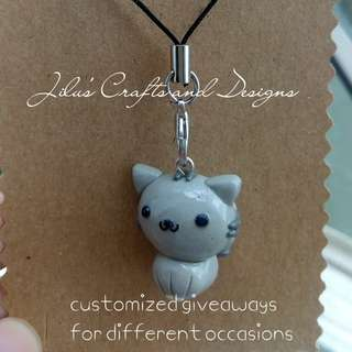 Grey Cat Charm for Bags / Phones