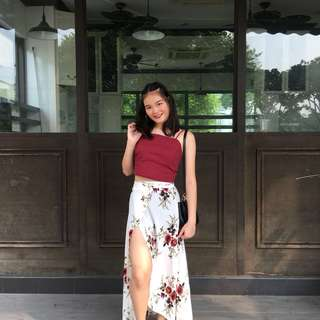 🌺 floral slit skirt