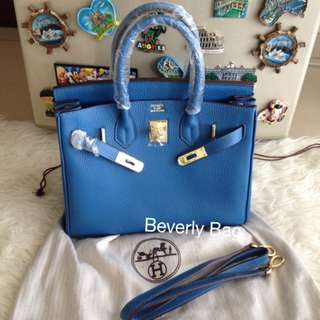 jual tas HB 30 with strap LEATHER MIRROR - blue