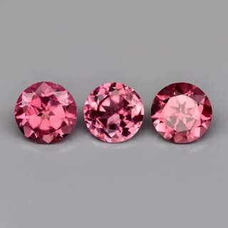3pcs / Lot 1.22ct Round Brilliant Natural Pink Tourmaline
