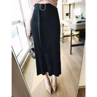 春裝2018新款女韓版純色鬆緊腰配腰帶針織半身裙