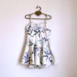 🚚 Snidel類似款挺版厚料細肩帶吊帶胸口抓皺典雅水墨印花米色修身洋裝連身褲