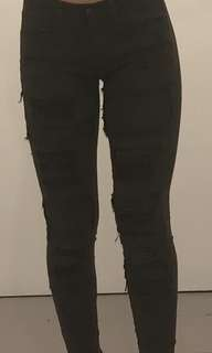 Winter style army green ripped skinny jeans