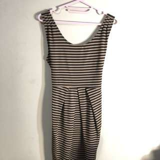 Stripes Gold Black Dress