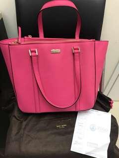 全新有單有塵袋 Kate spade ♠️ N1 桃紅色大袋 奶粉袋 媽媽袋
