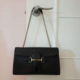 Gucci 8成新黑色中size 手袋