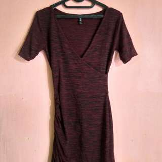 Maroon dress stradivarius