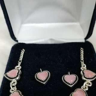 Like New Montana Silversmith Pink Heart Necklace Set