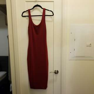 Deep red midi dress