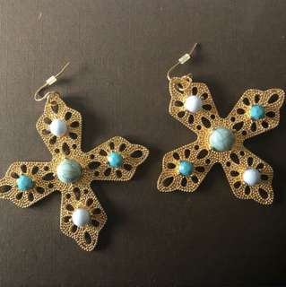 GOLD Cross earrings with turquoise stones