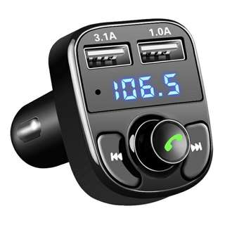 Bluetooth Audio Receiver FM Transmitter Handsfree with USB Car Charger - Black