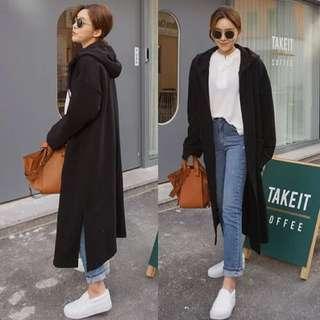 韓國進口女裝2018春季新款寬鬆落肩抽繩連帽長款外套