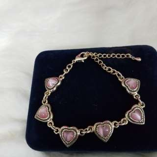 Like New Pink  Heart Montana  Silver Smith Bracelet