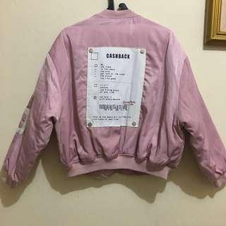 Oversized pastel pink baby pink bomber jacket jaket