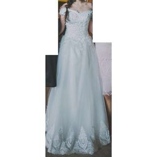 Wedding Gown Set (with long veil, gloves and bouquet)