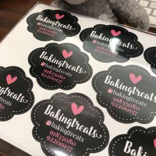 Bakery stickers labels customise