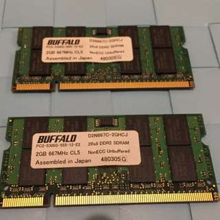 Laptop Memory: Buffalo 4GB (2x2GB) PC2-5300S RAM SODIMM Kit