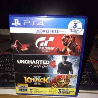 ps4 賣GT Sports + Uncharted 4 HITS bundle 3 in 1 (3個月會藉+ Knack 2 已用