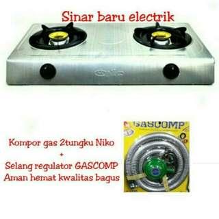 kompor gas Niko 2 tungku free selang regulator Gascomp
