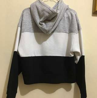 Oversized hooded sweatshirt sweater tritone grey black white