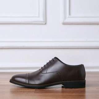 Clement Oxford Captoe Coklat Tua Heiden Shoes