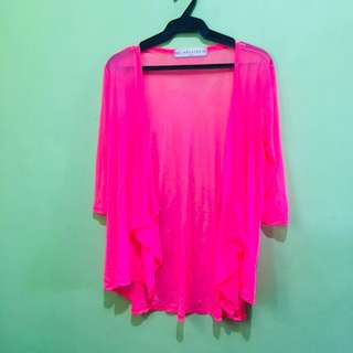 Neon Pink Swimsuit Cover Up / Cardigan