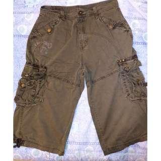 MKJS Olive Green 6 Pocket Cargo Shorts