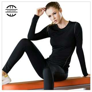 Workout long sleeve quick dry shirt gym fitness