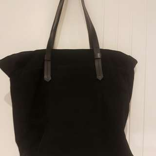 Black Genuine Suede Leather Tote