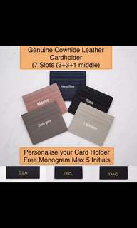 LM005- Personalised Cardholder Personalised Genuine Cowhide Leather Card Holder 7 Slots Personalised Card Holder Free Monogram Max 5 CAP Initials on 1 side - Made To Order