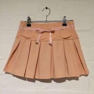 Yoco - Scalloped Ribbon-Tie Mini Skirt in Orange