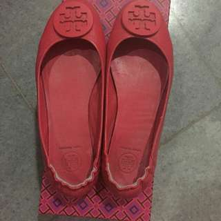 Torry Burch Red Flat Shoes Size 38 AUTHENTIC
