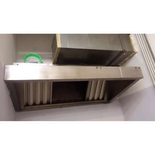 Commercial Kitchen Hood with Exhaust Fan & GI Ducting