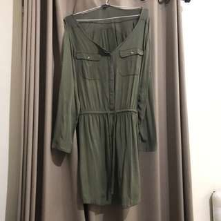 American eagle outfiters olive green dress