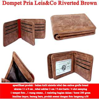 Dompet Pria Leis&Co Leather RIVERTED BROWN