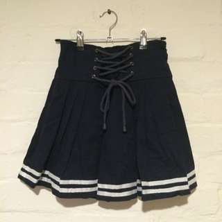Lace-Up Pleated Ribbon-Tie Striped Short Skirt in Navy