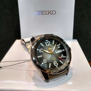 * FREE DELIVERY * Made In Japan Brand New 100% Authentic Seiko 5 Sports Black PVD Case & Gold Index Automatic Mens Casual Watch SRP631J SRP631