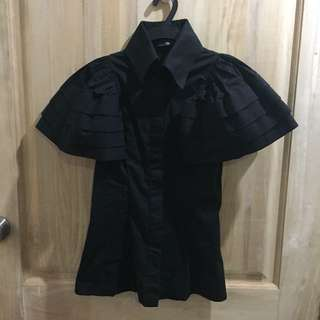 Tyler Black Top Ruffled Sleeves
