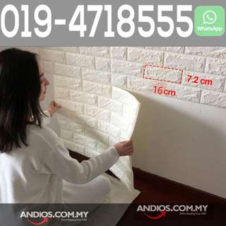 In-Stock✔3D Creative Brick Pattern Wallpaper Waterproof Wall Sticker Home Decor 60x60cm