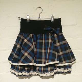 Gingham Checkered Lace and Ribbon Short Skirt in Blue