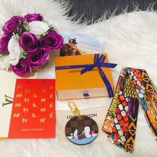 Louis Vuitton Christmas Animation LE  Penguin  Design, A Pair Of Silk Twilly And 1 LV Red Envelope With Cute Dog Stamps