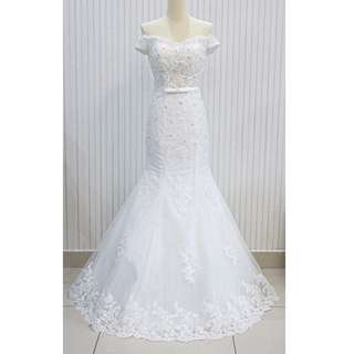 [CLEARANCE] Off Shoulder Mermaid Wedding Gown