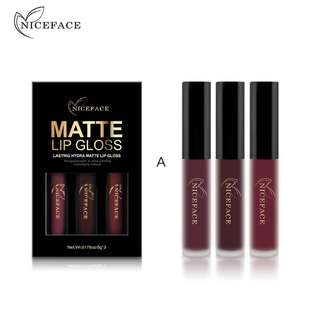3 Pcs/set Brand Makeup Matte Lipstick Kit Long Lasting Lip Gloss Set Waterproof Women Lips Make up Beauty Cosmetics 2017 New