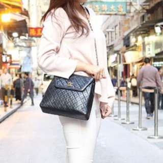 """CHANEL Rare 10.5"""" KELLY On Long Chain In Black Lambskin & Shiny GHW. Excellent Vintage Condition !"""