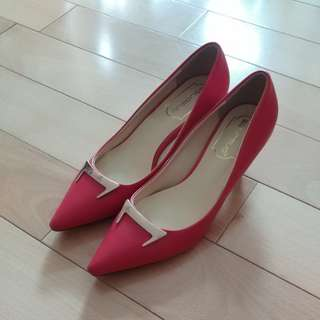 (95%new) Red PU leather high heels