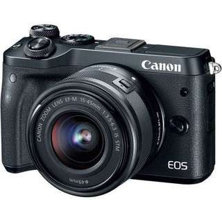 CANON EOS M6 (BLACK) WITH 15-45MM LENS + 8GB + BAG