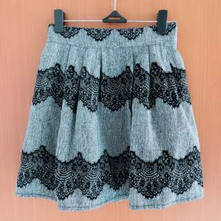 Korean grey lace skirt