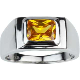 925 Sterling Silver Men Ring Fashion Jewelry with 7x9mm Rectangular Simulant Gemstones