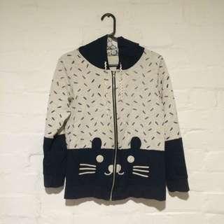 Cat Zip-Up Hooded Jacket in Navy and Beige